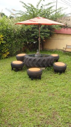 recycling furniture reuse old tires gate furniture umbrella Tire Furniture, Recycled Furniture, Garden Furniture, Furniture Nyc, Furniture Removal, Street Furniture, Cheap Furniture, Discount Furniture, Outdoor Projects