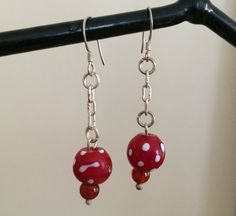 Sterling Silver Earrings with Old African Trading Beads - ONE OF A KIND