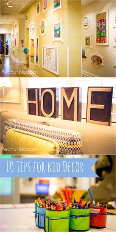 10 tips for embracing signs of childhood in your home: Great ideas for creating warm and cozy spaces for the entire family. Love the tips on toy organization and the kid art displays!!