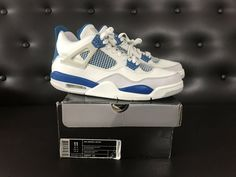 06 NIKE AIR JORDAN IV 4 RETRO WHITE MILITARY BLUE CEMENT GREY OG 308497-141 a85a484f0
