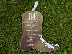 Boot Wedding Programs, rustic wedding programs or country wedding programs.  www.11Sixteen.com