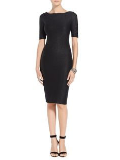 Opt for a timelessly sophisticated look with this Shimmer Rumba Knit Dress from St. Always complimentary delivery & returns. Midi Cocktail Dress, Womens Cocktail Dresses, Half Sleeve Dresses, Dresses With Sleeves, Dresses For Work, Formal Dresses, Black Knit, Minimalist Fashion, Knit Dress