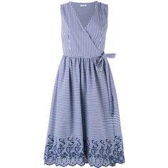 P.A.R.O.S.H. midi striped sleeveless wrap dress ($259) ❤ liked on Polyvore featuring dresses, blue, stripe dress, blue striped dress, blue wrap dress, mid calf dresses and striped sleeveless dress