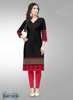 Ethereal Black Coloured Cotton Kurti