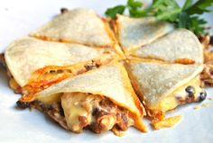 Mexican: Cheesy Chicken & Black Bean Quesadilla's...Hungry For Mexican? These Quesadillas Are Meatless, Yet High In Protein & Fiber.