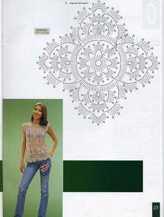 Crochet square or diamond shaped motif to form a shirt.