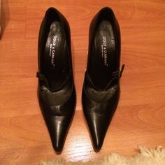 Dolce & Gabbana heels Dolce & Gabbana closed toe pointy heels with small strap at front. In good condition. Barely worn- see last photo for sole. Very minor scuffs not noticable. Condition 8/10 Dolce & Gabbana Shoes