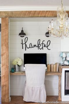 PERFECT IDEA FOR MY NOOK. Love this. Love the simplicity. Love the thankful sign. Love the lights. Cute!