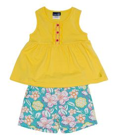 Another great find on #zulily! Yellow Top & Turquoise Floral Shorts - Infant & Toddler #zulilyfinds