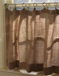 DIY burlap cafe curtains w/ clip rings. Love this look -- could I use it somewhere in the house??