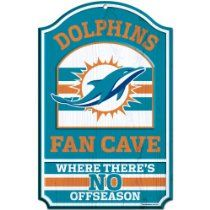 NFL Miami Dolphins Fan Cave Wood Sign, Orange/Teal/White, 11x17-Inch