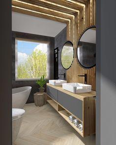 łazienka #kadawnetrza #nowyprojekt #lazienka #drewno #jodełka #mebleniedlakazdego #deseczki #bathroom #interiordesign #design #industrial_interior #wood #bathroomdesign #kadawnętrza #projektowaniewnetrz #projektowanie #lubuskie #miedzyrzecz #zielonagora Bathtub, Industrial, Mirror, Bathroom, Furniture, Design, Home Decor, Standing Bath, Washroom