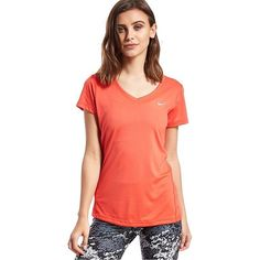 Nike Miler V-Neck T-Shirt ($33) ❤ liked on Polyvore featuring activewear, activewear tops, crimson, dri fit shirts, raglan shirts, nike, red v neck shirt and red shirt