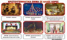 christmas flashcard preschool traditions from around the world Preschool Christmas, Christmas Crafts, Christmas Time, Xmas, Preschool Worksheets, Pre School, Homeschool, Lunch Box, Traditional