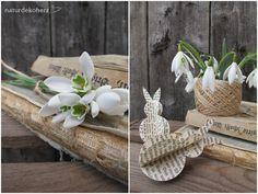 Ein Blog über kreatives Basteln und Dekorieren mit Naturmaterialien Easter, Table Decorations, Blog, Diy, Wedding, Home Decor, Old Book Pages, Rabbit Ears, Small Vases