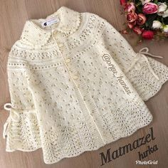 Our mademoiselle card is already over.I can now share it due to the intensity but. Baby Knitting Patterns, Baby Patterns, Girls Sweaters, Baby Sweaters, Crochet Baby Jacket, Paisley Print Dress, Baby Coat, Hello Ladies, Baby Cardigan