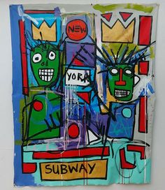 X Large Jean-Michel Basquiat N York Art Painting Oil/Acrylic on Canvas Port Saint Lucie, Jean Michel Basquiat, Urban Art, Expressionism, Online Art, Contemporary Art, Graffiti, Auction, Make It Yourself