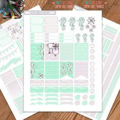 Seahorse Planner Stickers Printable, Erin Condren Stickers, Monthly / Weekly Kit, Printable Sampler, Erin Condren, Instant download, ECLP