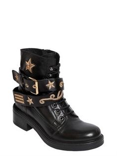 strategia - women - boots - 30mm military embroidered leather boots