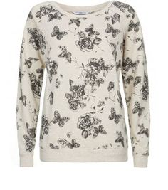 Oatmeal Butterfly Floral Sweater