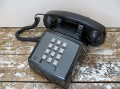 Vintage Phone Push Button Phone Black by VintageShoppingSpree, $38.00