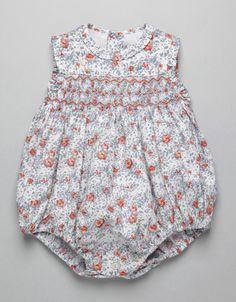 ORANGE FLOWER SMOCK ROMPER | Boy-and-Girl | Baby Clothes | Online Shop | Neck