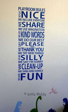 Playroom Rules Vinyl Decal- playroom, children, word art, decal, toy room, play nice. $24.50, via Etsy.