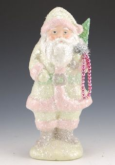 10 inch Pastel Belsnickel Santa with Glitter