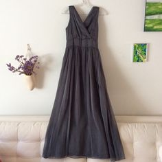 """❤ Get ready for Valentine's!!! ❤ Soft grey dress flows like a goddess.  Perfect for summer night concert, evening out or a special date.  There is no tag, my guess is size 4/ S.  Waist measures 13"""" from side to side, underarm to underarm measures 15"""", 56"""" from shoulder to hem.  Note: it's more a cool gray in daylight.  Lovely dress.  Worn only once, in excellent condition. Dresses Maxi"""