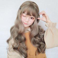 Say Hello to my long and wavy hair! You are certainly on top of the Kawaii class Kawaii Hairstyles, Cute Hairstyles, Wig Styles, Curly Hair Styles, Dress Styles, Japonese Girl, Kawaii Wigs, Mode Kawaii, Cute Korean Girl
