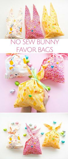 Easy No Sew Fabric Bunny Favor Bags. Make these easy Easter bunny treat bags for kids with no stitching involved!