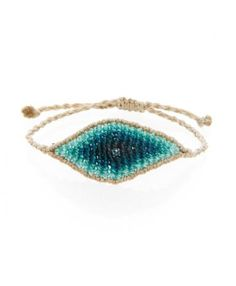Aqua String See Eye White Diamond Bracelet