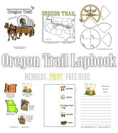 Free Oregon Trail Lapbook, Activities and Crafts 4th Grade Social Studies, Social Studies Activities, History Activities, Teaching Social Studies, Pioneer Activities, Pioneer Crafts, Pioneer Life, Oregon Trail, Lewis And Clark