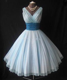 Pale blue prom dress, 50s prom dress,1950s wedding dress,vintage wedding dress, 50s 60s style prom dress,HC173