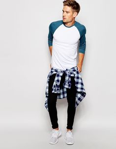 Image 4 of ASOS Long Sleeve T-Shirt With Contrast Raglan Sleeves