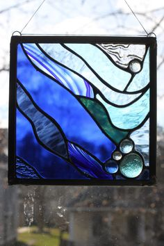 Ocean Blue Stained Glass Small Panel Window by GlassyGalGlassArt