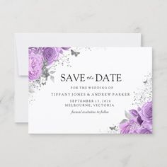 Magical Purple Lavender Roses Floral Wedding Save The Date - cards custom invitation card design marriage party Peonies And Hydrangeas, Lavender Roses, Purple Roses, Hydrangea Flower, Flowers, Mauve, Wedding Cards, Wedding Gifts, Wedding Ideas