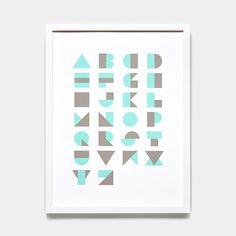 Alphablocks Mint Print | Unison Typography Inspiration, Typography Design, Branding Design, Logo Design, Graphic Design, Lettering, Letras Abcd, Textile Prints, Design Elements