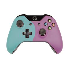Custom Xbox One Controller  Wireless Glossy  Half-Pastel Green-And-Half-Red Lilac