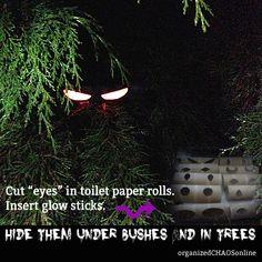 "» Cut ""eyes"" in Toilet Paper Rolls for Halloween"