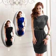 New Girls Sexy Fashion One Shoulder Sleeveless Mini Dress Clubwear 3Colors