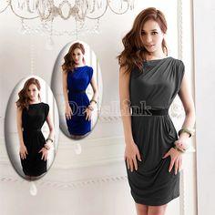 New Girls Sexy Fashion One Shoulder Sleeveless Mini Dress Clubwear 3Colors