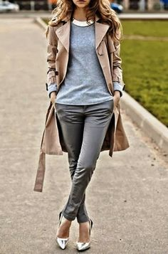 Fashionista Tribe : Trench Coat Gray Fall Outfit