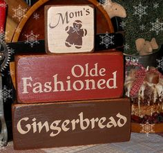 Gingerbread Christmas Primitive Wood Block by CountryThymePrims. $17.00 USD, via Etsy.