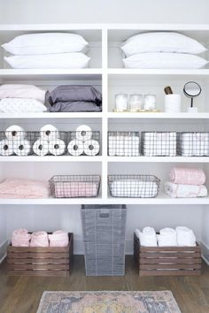 Tips and tricks for cleaning every room of your home: The entryway laundry room kitchen pantry living room master closet kids' room and beyond. Plus: The best products for organizing and storage. - April 21 2019 at Linen Closet Organization, Bathroom Organisation, Storage Organization, Diy Storage, Organized Bathroom, Organizing Bathroom Closet, Baskets For Storage, Extra Storage, Wire Basket Storage