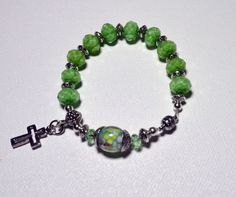 Emerald Green Rosary Bracelet with silver plated spacer beads and cros