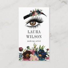 Shop Beautiful Eye with White Watercolor Flowers Business Card created by smmdsgn. Massage Business, Salon Business, Business Design, Business Ideas, Salon Promotions, Becoming An Esthetician, Electric Nail File, Referral Cards, Business Hairstyles