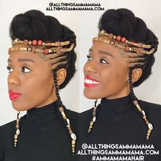 Braids with Beads: Hairstyles for a Beautiful and Authentic Look What do box braids, cornrows, micro braids and every other braided variation have in common? Besides the fact that they require little attention and. Natural Updo, Natural Hair Care, Natural Hair Styles, African Hairstyles, Vintage Hairstyles, Braided Hairstyles, Black Hairstyles, Hairstyles 2016, Girl Hairstyles