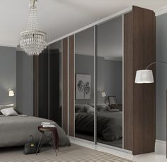 Premium Midi: Vertical Split panel Grey Mirror / Tortona Chestnut with Satin Silver frame