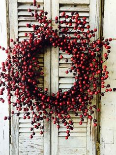 Artificial Crab Berry Wreath in Burgundy Red  Find beautiful fall decorations for your home or rustic wedding like this adorable, faux crab berry wreath in burgundy red. Use silk flowers and ribbon to dress up this berry wreath to complete a gorgeous DIY autumn door decoration!  #afloral